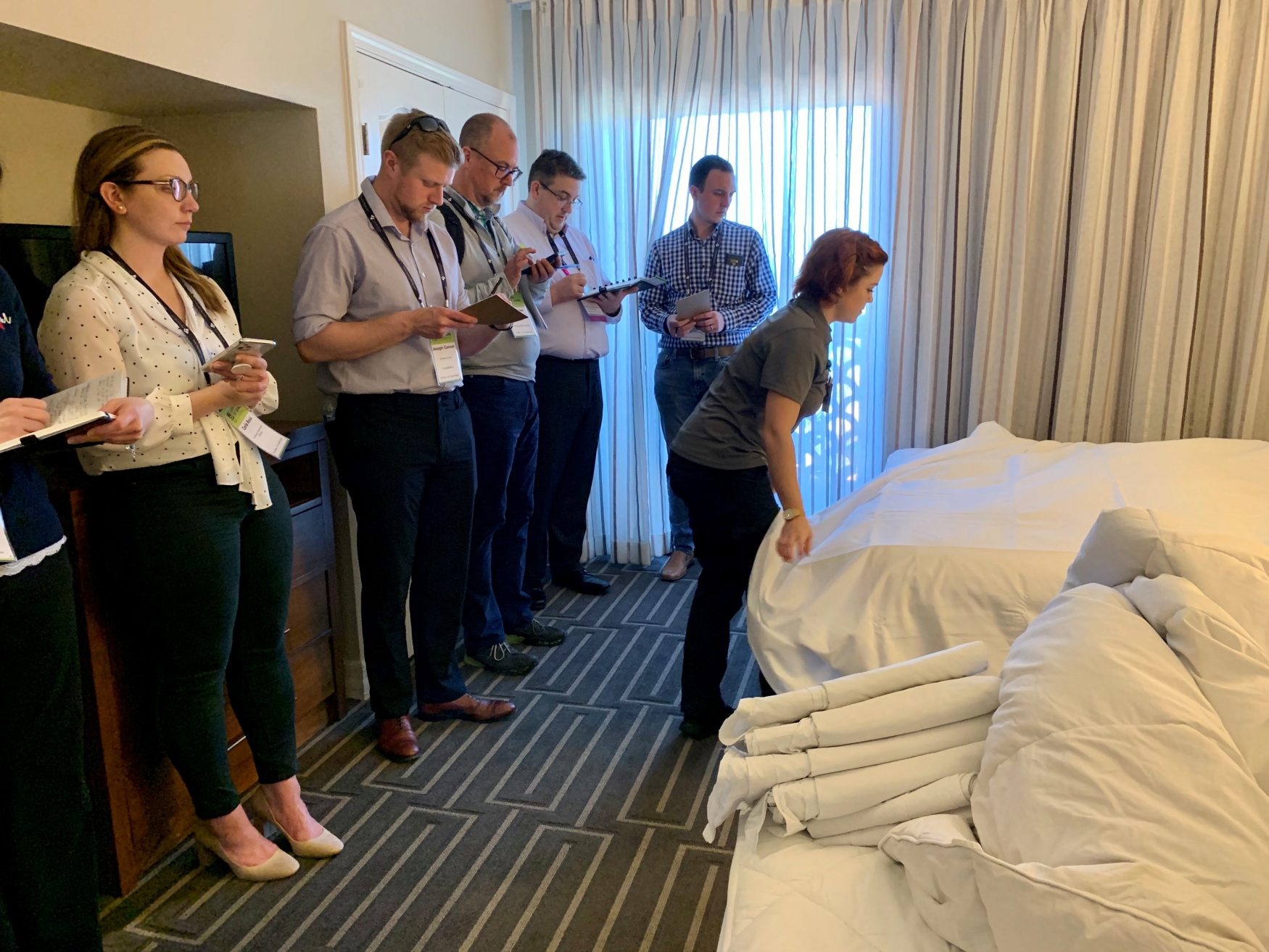 Attendees in hotel room