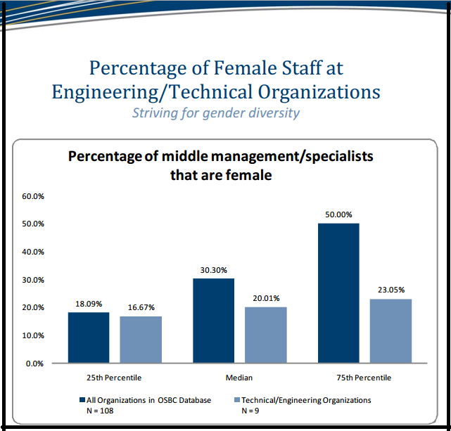 Percentage of Female Staff at Engineering and Technical Organizations