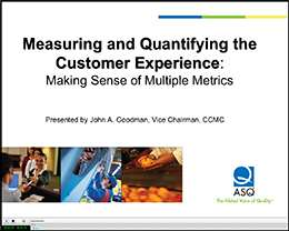 Preview image of Measuring and Quantifying the Customer Experience webcast