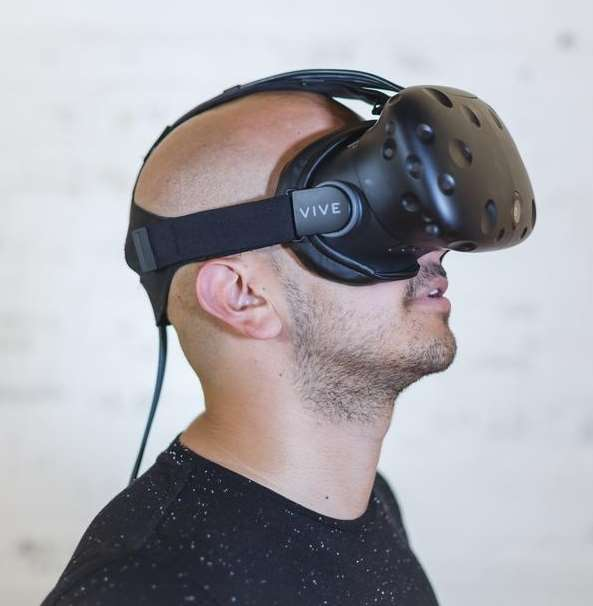 man with virtual reality (VR) goggles